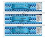 Demi-god/Percy Jackson Inspire/Greek God/ Half-Blood Theme Large Water Bottle Label-Sea Blue Poseidon Nectar Demi-god B/G- Digital
