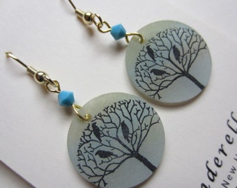Translucent Botanical Blackbirds in a Tree earrings in soft blue with aqua bead