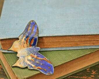 vintage 70s Cobalt Blue and Orange Enamel on Copper Butterfly Brooch