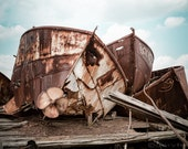 Rusty Hulls -  Rusted Boats, Nautical, Color Photography, Abandoned Vessels, Propeller, Ship Graveyard, Signed Photograph, Free Shipping