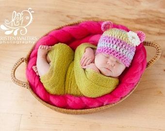 Newborn Baby Girl Bear Hat... Flower hair clip... Ready to ship