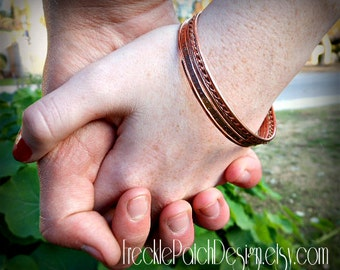 Love Bangles in Pure  Copper,  set of 5,   Personalized,  Love Letter, Quote