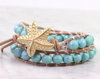 Turquoise Blue Leather Wrap Bracelet Tan Suede Aqua Gold Desert Summer Bohemian Style Double Wrap Beach Jewelry Gold Starfish Bracelet