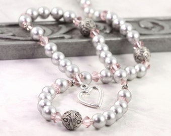 Light Gray Pearl Necklace Pink Dusty Rose Mauve Pastel Crystal Sterling Silver Bridal Jewelry Heart Clasp