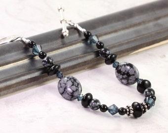 Snowflake Obsidian Bracelet Indigo Blue Black Onyx Bracelet Gemstone Jewelry Gray Blue Crystal Jewelry Sterling Silver Black Bracelet - Mom