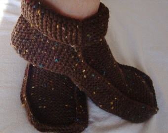 Slipper Shoes - Warm Slippers - Knitted Slippers - Home Shoes - Moccasin Slipper - Women Med/Large - Mens Small