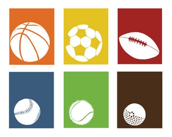 Sports decor, baby boy nursery art, set of 3 ball silhouettes - you choose the colors and designs