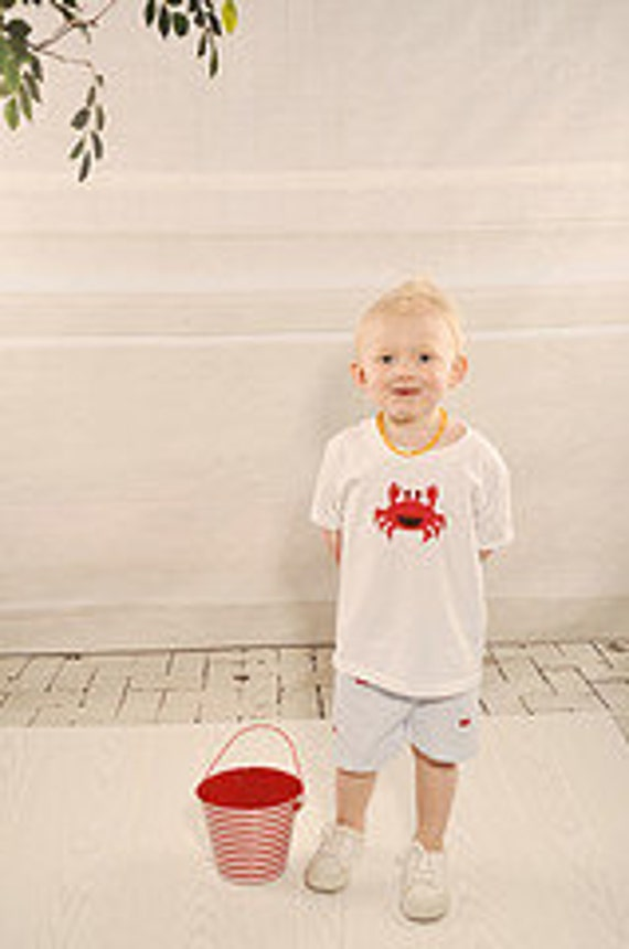 Boys Blue Seersucker Embroidered Crab Shirt and Shorts Set, 6mo,12mo,18mo,2t,3t,4t,5.6.7.8