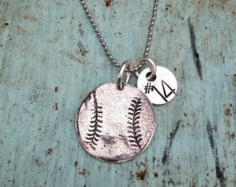 Sterling Silver Baseball / Softball Necklace with Hand Stamped Number or Initial