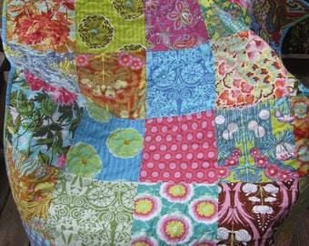 Amy Butler Soul Blossoms patchwork lap quilt or baby quilt handmade by fabricdesigns 40 in x 47 in -FREE SHIPPING