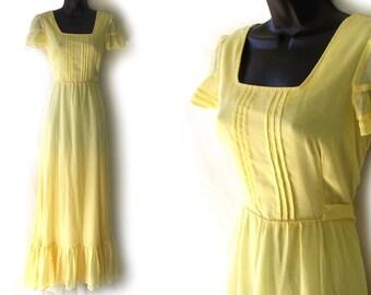 70s Yellow Maxi Dress S