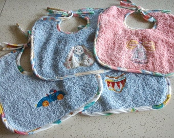 Machine Embroidered Cotton Terry Cloth Baby Bib