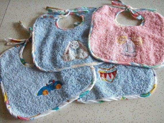 Machine Embroidered Cotton Terry Cloth Baby Bib