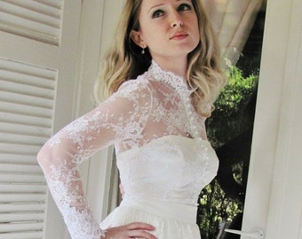 Royal Elegance white bridal lace top white lace blouse bridal bolero jacket wedding bolero wedding shrug