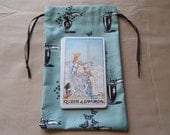 Light Turquoise Blue Apothecary and Potion Bottles Cotton Drawstring Pouches - Set of 3 Different Sizes