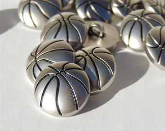 Silver Basketball Buttons with Shanks by Buttons Galore