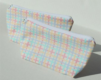 Pastel Plaid Zippered Pouch