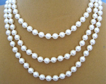 ON SALE was 48.00 Vintage Long Monet Pearl Necklace