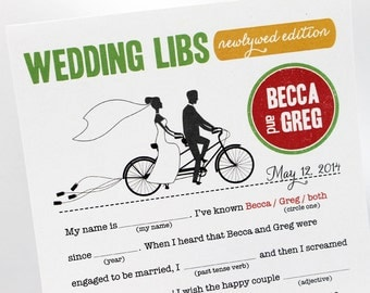 Wedding Advice Cards // Bridal Shower Advice Cards // PDF FILE Print Yourself Colors, Names are Customizable, Couple on Tandem Bicycle