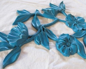 vintage SYROCO 'DOGWOOD' wall hanging-- turquoise-  1960s