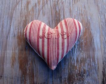 Striped Love Sachet -Pink Red & Hemp Vintage French Lavender Sachet
