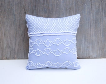 Chenille Pillow - Lucy - Lavender Vintage Chenille Handmade Dual Pillow