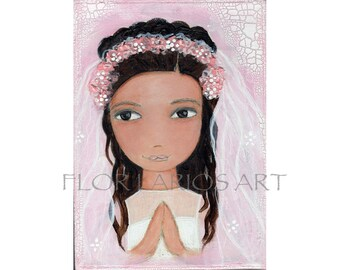 First Communion Girl  - Reproduction from Painting by FLOR LARIOS (5 x 7 inches Print)