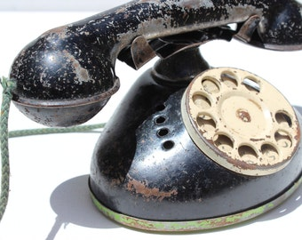 Vintage Tin Telephone Black Rotary Phone Vintage Toys Toy Phone Old School 1940's Antique Toy Phone