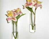 Set of Two Hand Blown Glass Wall Vases