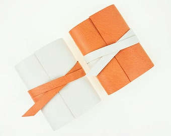 Leather Mini Journal: Peach Wedding Favour, Party Bag gift, small notebook apricot soft pastel feminine orange feat. Oh Comely magazine