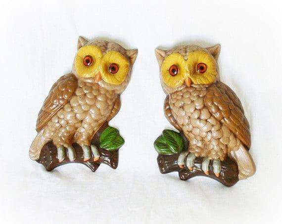 Vintage 70s Owl Wall Hangings Art Ceramic Brown Yellow Set 2 1978
