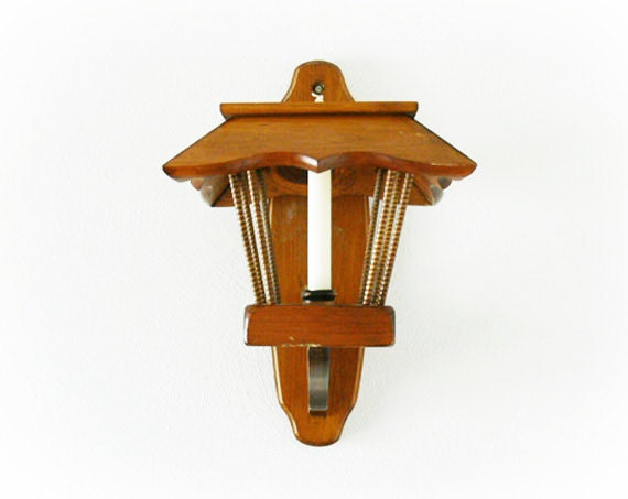 Vintage 60s 70s Wood Lantern Wall Hanging Sconce Candle Holder