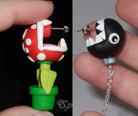 Made To Order Mix Match Chain chomp and Piranha plant earrings 1 of each custom colors available Chomping at your ear lobes