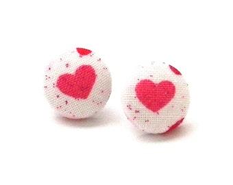 Valentines Day Pink Hearts, Button Earrings, Heart Earrings, Etsy Kids, Child Earrings