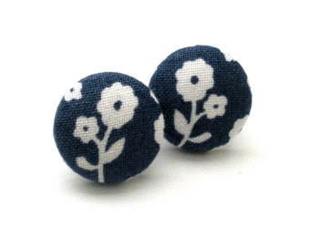 Button Earrings, Navy Blue, Floral, Spring, Flower Earrings, Jewelry, Covered Button