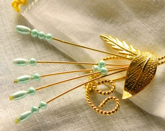 Dainty Gold Tone Pin Brooch Vintage, Light Turquoise Beads, Shipping Included