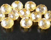CLEARANCE Glass Bead 12 Golden AB Rondelle Faceted 10mm x 7mm (1014gla10d1)os