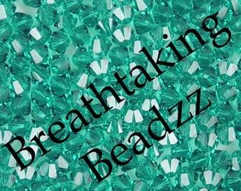 CLEARANCE Swarovski Beads Crystal Bead 50 Blue Zircon 4mm Bicone 5328 Many Colors In Stock,os