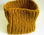 Chunky Knit Cowl / Saffron Mustard Cowl / Hand Knit Gold Cowl / Butterscotch Cowl / Mens Cowl / Womans Cowl