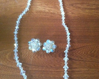 Single strand Aurora Borealis necklace and matching earrings