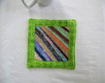 Quilted Coaster or Mug Rug Scrappy Strings