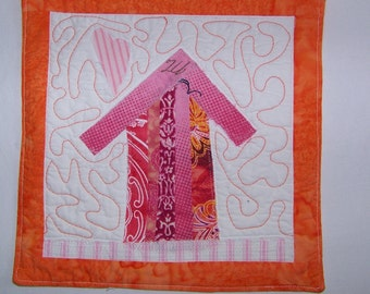 Crazy Town Pink Cottage Mini Quilt or Mug Rug