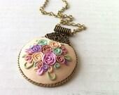 Rose necklace flower - pastel long necklace