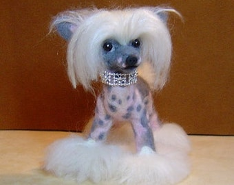 Custom needle felted dog Chinese Crested Sculpture