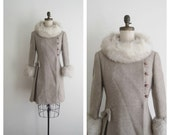 1960s princess coat / fox trim / SANDSTONE