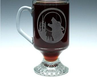 Engraved Wolf Irish Coffee Mug