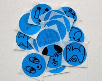 OOAK Hand Drawn Stickers - Bright Blue Circle Stickers
