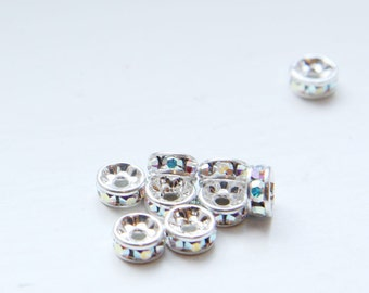 4pcs Swarovski Rondelles 1577 - Crystal AB and Silver 6mm (SW90001)