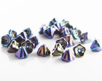 30 Pieces Czech Bell Flower - Iris Blue 8x6mm (21435) (L-213)