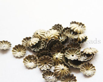 60pcs Antique Brass Tone Base Metal Caps-10mm (1147Z-P-267B)